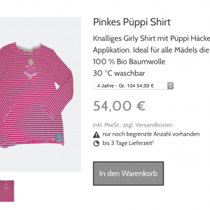 Pinkes Püppi Shirt by Lia Bach Fashion for Kids and Teens  planetbox du entscheidest de  shop  fair trade   bio  mode