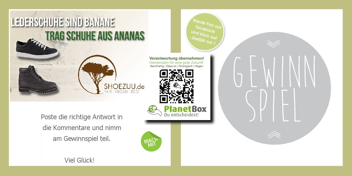 gewinnspiel vegan bio shoezuu.de planetbox-duentscheidest.de event win vegan schuhe schuhe aus ananas